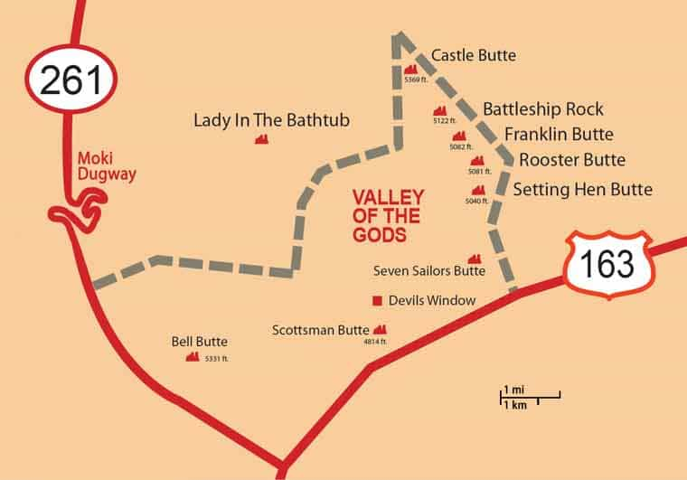 valley of the gods map