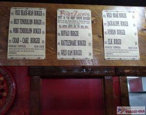 fort zion menu